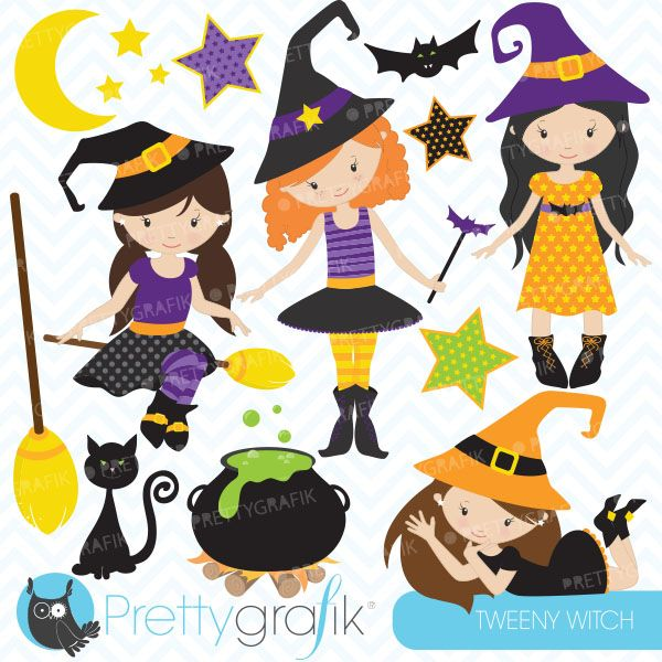 Tweeny witch - clipart for Halloween Invitations, crafts, scrapbooking and more.