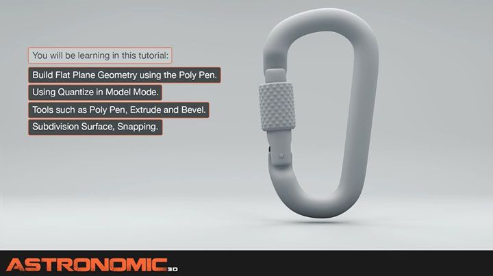 How to model a Carabiner Clip in Cinema 4d by using the poly pen tool, quantize, beveling, and other techniques for modeling this seemingly simple object.