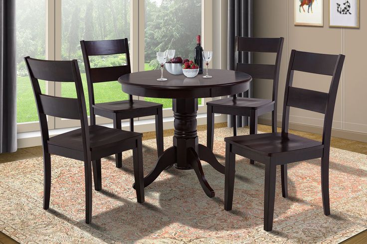 "This 36"" Brookline round dinette dining table set. This Brookline set features a round solid wood table top with a beautiful carved pedestal base. This exquisite product line includes distinctive wooden counter height dining sets and bar stools. 