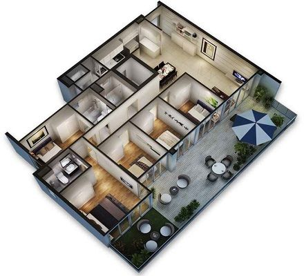 25 Best 3D Floor Plan Images On Pinterest 1 Bedroom Apartment   3d Home  Floor Plan