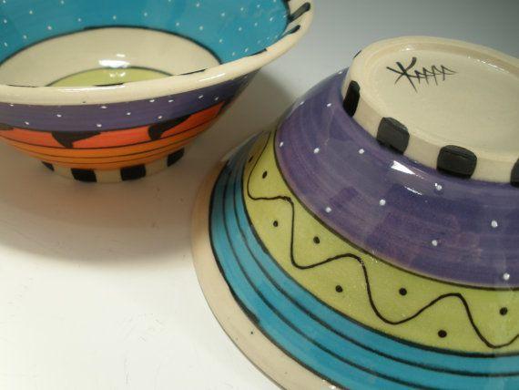 Set of Bowls Porcelain Bowls Red Orange green by KimberlyRorick
