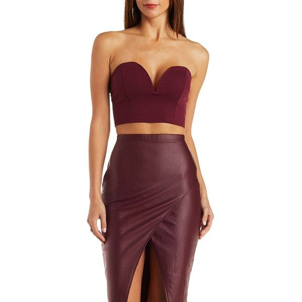 Charlotte Russe Ruby Wine Plunging Strapless Bustier Crop Top by... ($19) ❤ liked on Polyvore featuring tops, ruby wine, plunge crop top, bustier crop top, red bustier, strapless top and crop tube top