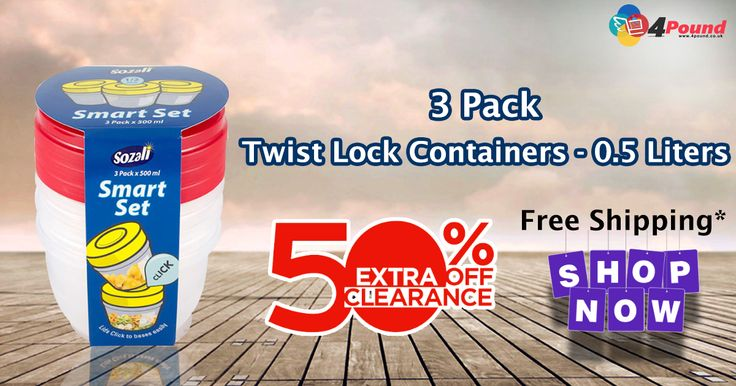 SHOP for 3 Pack Twist Lock Containers - 0.5 Liters (Pack Of 2) 50% Grand Sale on All purchases. Free Shipping Availability  Product Description   :  3 Pack Smart Set Twist Lock Containers. Natural Color Container with Red Screw cap lid. Lids click to bases easily. 500 ml Capacity. Microwave safe. Can be used with open lid for reheating purposes only subject to presence of moisture content Freezer Safe http://www.4pound.co.uk/3pk-0.5l-twist-lock-containers