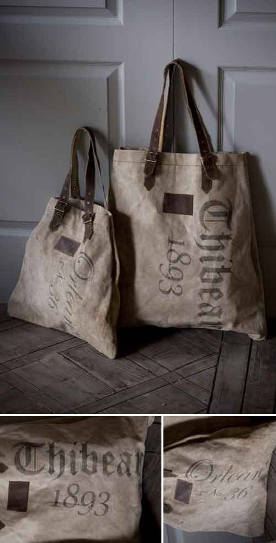 "INSPIRATION :: Fatigued Canvas Totes from mothology.com that read ""Thibean 1893"" & ""Orleans No. 36""...great transfer ideas for totes, crates, furniture, etc. 