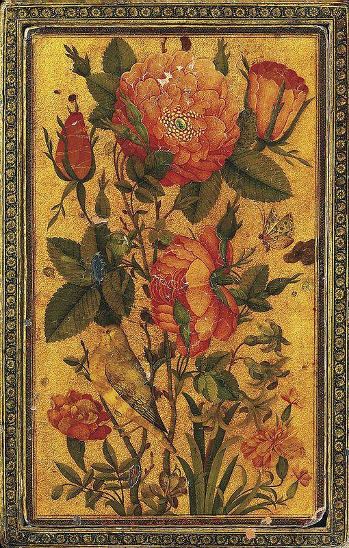 گل و مرغ، قاب آینه لاکی، رقم محمد باقر، 1145 هجری قمری 25 x 16.1cm A ZAND POLYCHROME LACQUER PAPIER-MÂCHÉ RECTANGULAR MIRROR CASE SIGNED BY MUHAMMAD BAQIR, IRAN, DATED AH 1145/1732-33 AD With separate cover, the face and reverse with finely painted gul-o bulbul compositions on a bright gold ground, the reverse with signature and date upper left, the interior face with an iris and lily composition on a red ground, small chips throughout, some with old retouching 9 7/8 x 6¼in. (25 x 16.1cm.)