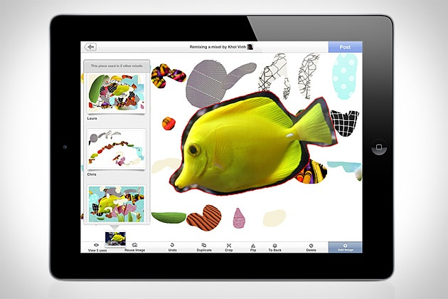 Mixel, co-founded by @Khoi Vinh, is one of my favorite apps of the 2011. It allows you to create collages and artwork, share them with your friends, and remix other people's mixels to add your own riff to the idea. It's free and iPad-only. Give it a shot.