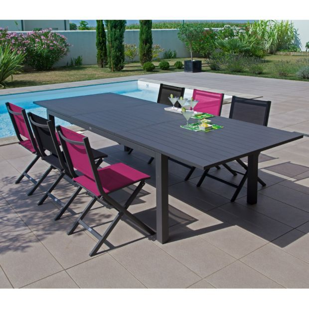 Table De Jardin Trieste Aluminium L200 280 L103 Cm Gris En 2020 Table De Jardin Mobilier Jardin Et Table Salon De Jardin