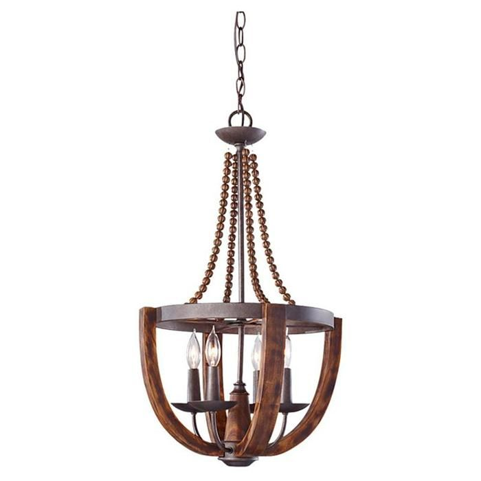 Adan 4 light chandelier in rustic iron and burnished wood nebraska furniture mart
