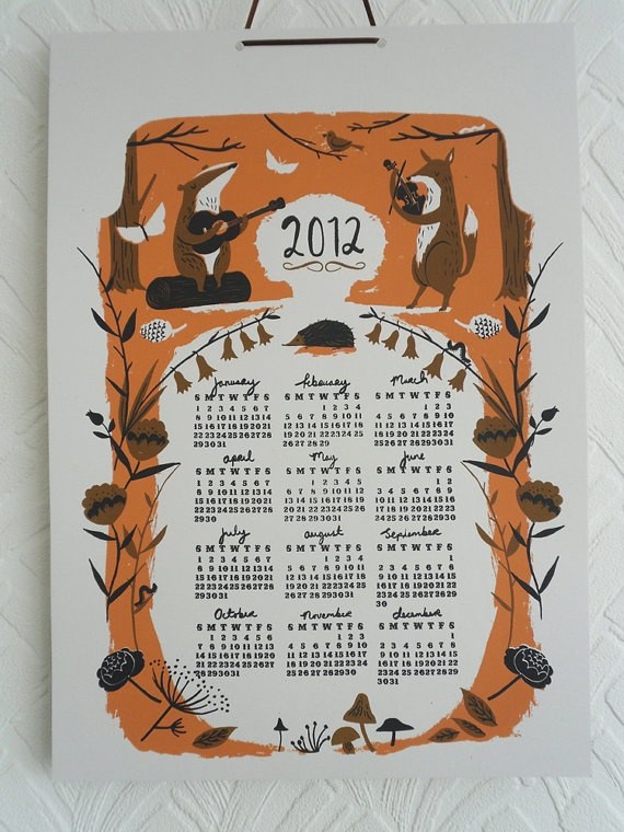 Screen printed 2012 poster Calender. Nicholas Frith