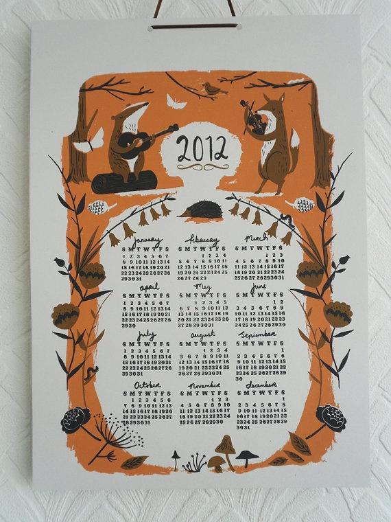 Screen printed 2012 poster Calender. Nicholas Frith