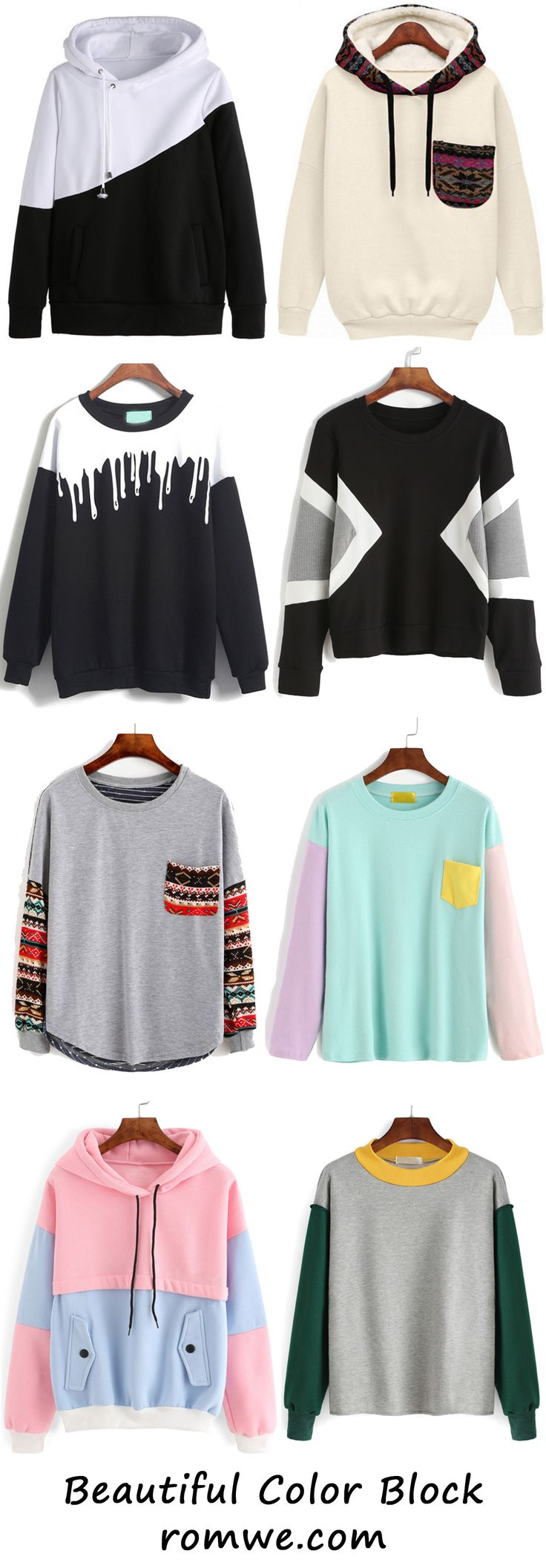 Fall Fashion - Pretty Color Block Tops from romwe.com
