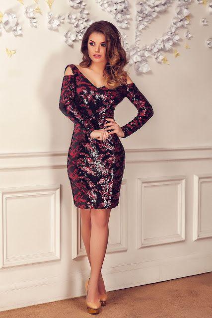 Fashion Trends Romania: Rochie Shine Rosu 2017