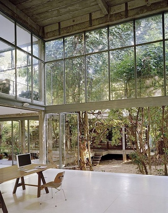 Glass walls - Look this idea if you like in a wooded area.