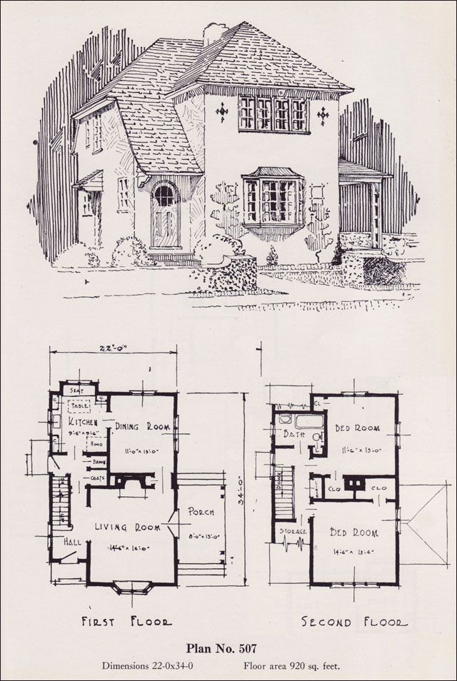 1926 Universal Plan Service No 507 House Plans I Like Pinterest Eat In Kitchen Style
