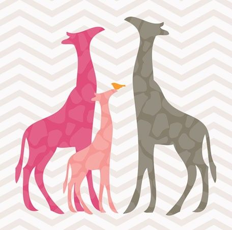 """Modern Giraffes - Pink"" - Canvas Wall Art from Oopsy daisy, Fine Art for Kids. You can personalize it too!"