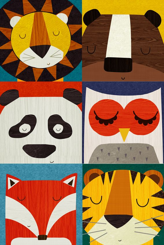 Retro illustrations of lion, bear, panda, owl, fox and tiger. By Rebecca Elliott.