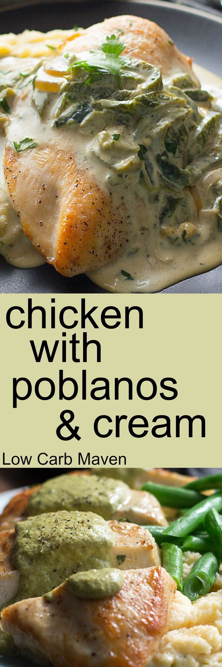 Chicken, roasted poblano peppers and cream make for a delicious low carb and keto dinner.