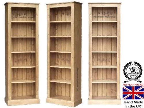 Narrow Pine Bookcase 6ft Tall 100 Solid Wood Dvd Cd Or Blue