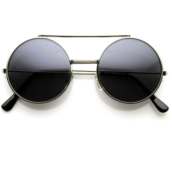 Steampunk Vintage Retro Round Circle Flip Up Sunglasses 8795 ($11) ❤ liked on Polyvore featuring accessories, eyewear, sunglasses, circle glasses, steampunk sunglasses, circular sunglasses, flip sunglasses and vintage glasses