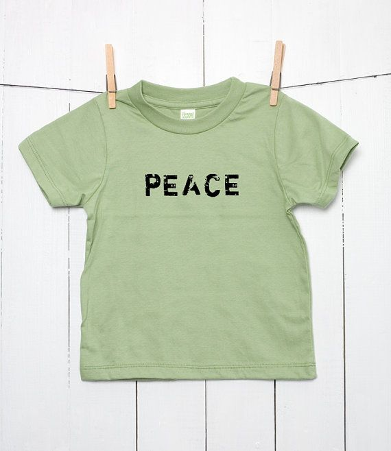 PEACE Children's Toddler's Kid's 100% Certified Organic Cotton T Shirt Hand Stamped with Black Waterbased Ink in Grunge Style Green