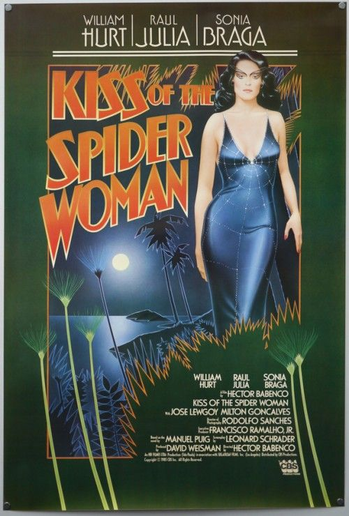 (1985) ~ William Hurt, Raul Julia, Sonia Braga. Director: Hector Babenco. IMDB: 7.4 ___________________________  http://en.wikipedia.org/wiki/Kiss_of_the_Spider_Woman_(film) ___________________________ http://www.rottentomatoes.com/m/kiss_of_the_spider_woman/ ___________________________ http://www.metacritic.com/movie/kiss-of-the-spider-woman ___________________________ http://www.tcm.com/tcmdb/title/80427/Kiss-of-the-Spider-Woman/ ___________________________