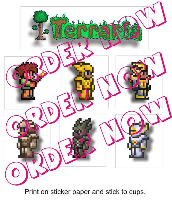 Terraria Stickers DIY printable pdf by Aluminumguy, $5.00
