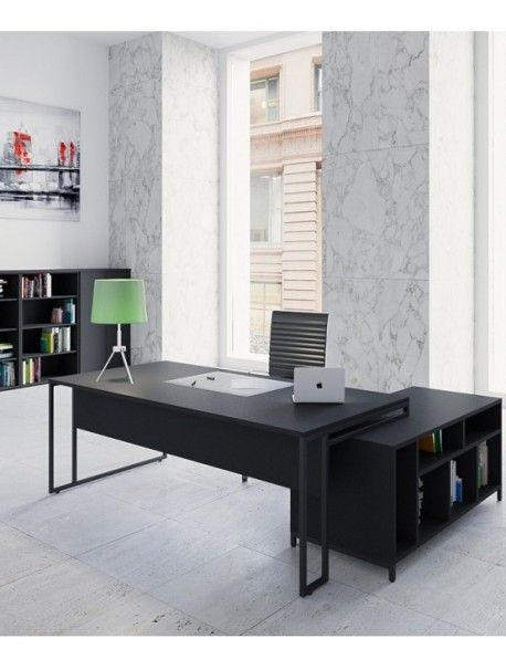 Bureau de direction avec console de rangement intégrée STRICTO SENSU, style loft industriel, plateau fin en mélamine et pied design 100% black