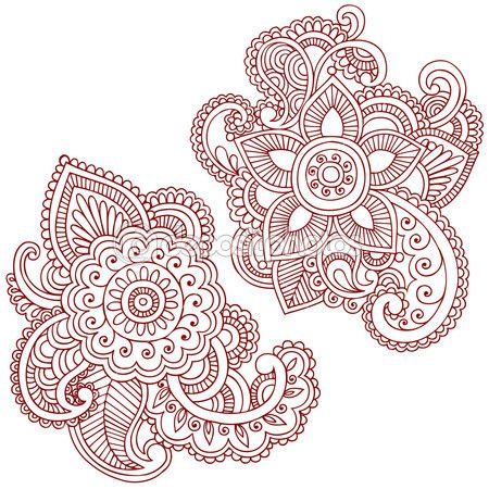Hand-Drawn Abstract Henna Mehndi Abstract Mandala Medallion Paisley Flowers Doodle Vector Illustration Design Elements