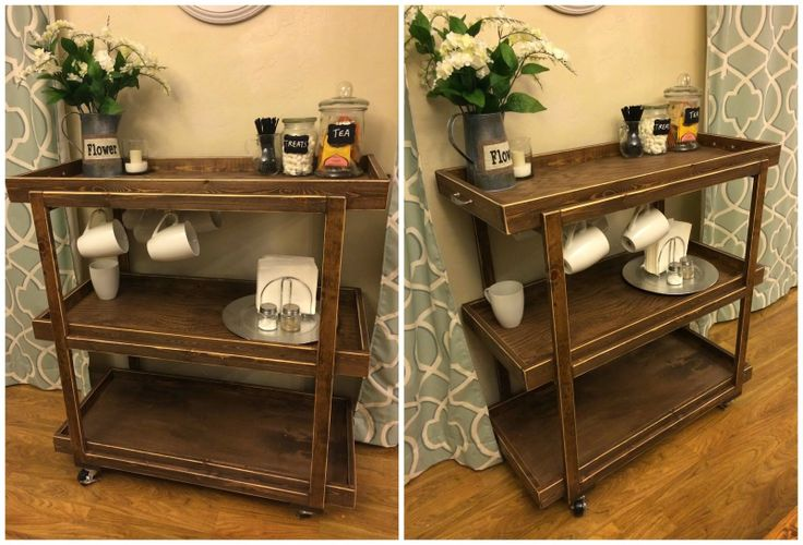 coffee cart or bar cart. build it, DIY, kitchen or dinning room furniture, link to tutorial. Popular with the Poplins