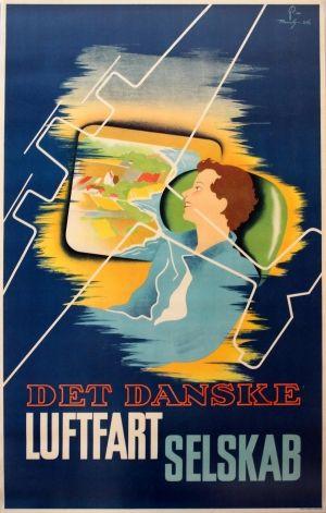 Danish Airlines Luftfartselskab DDL, 1936 - original vintage poster by Pramvig listed on AntikBar.co.uk