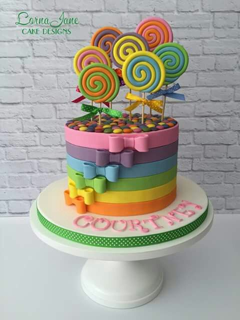 Fun Rainbow and Lollipops Cake