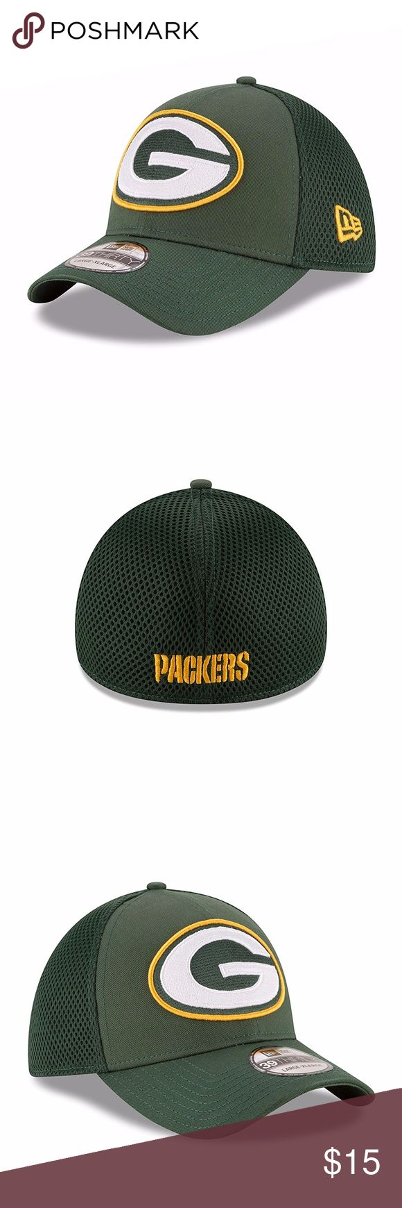 Green Bay Packers Mega Team Neo 39THIRTY Cap Brand New Officially Licensed with tags. This Green Bay Packers New Era Mega Team Neo 39THIRTY features bold embroidered Packers logo on the front and embroidered name on the back with stretch fit. SM-MED (7 1/8- 7 1/2)(56.8cm-59.6) 190292735268 Med-LG (7 3/8- 7 3/4)(58.7cm-59.6cm) 190292735251 New Era Accessories Hats