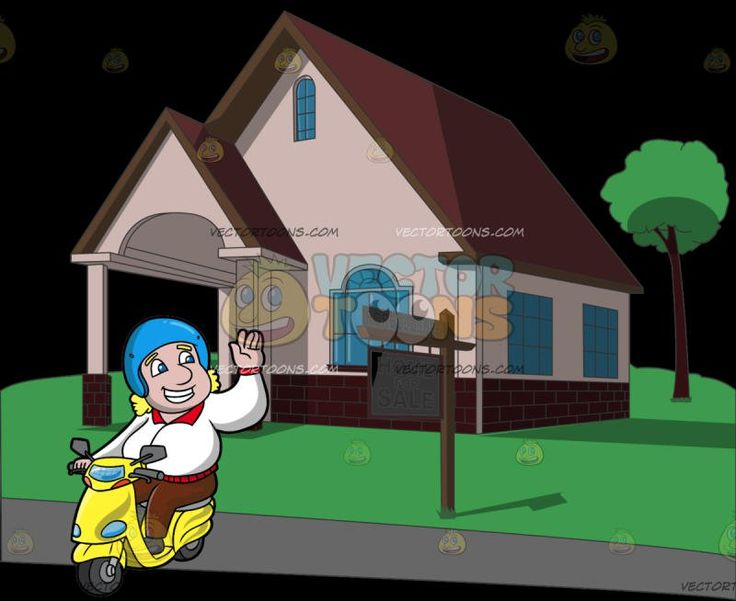 A Friendly Man Going For A Ride In His Scooter At A Charming House And Lot That Is Up For Sale:  A man with medium length curly hair wearing a blue helmet white with red jacket brown pants and gray shoes grins while waving his left hand in greeting as he rides his yellow scooter. Set in a cartoon image of a homey structure with a garage port glass windows on each side of the wall an attic window maroon triangular rooftop and brick accent at the bottom edge of the house built on a lush grass…