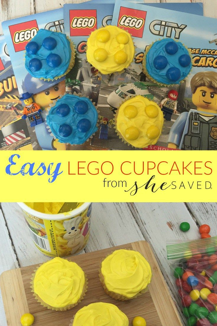 Make your LEGO party extra fun with these easy LEGO cupcakes!