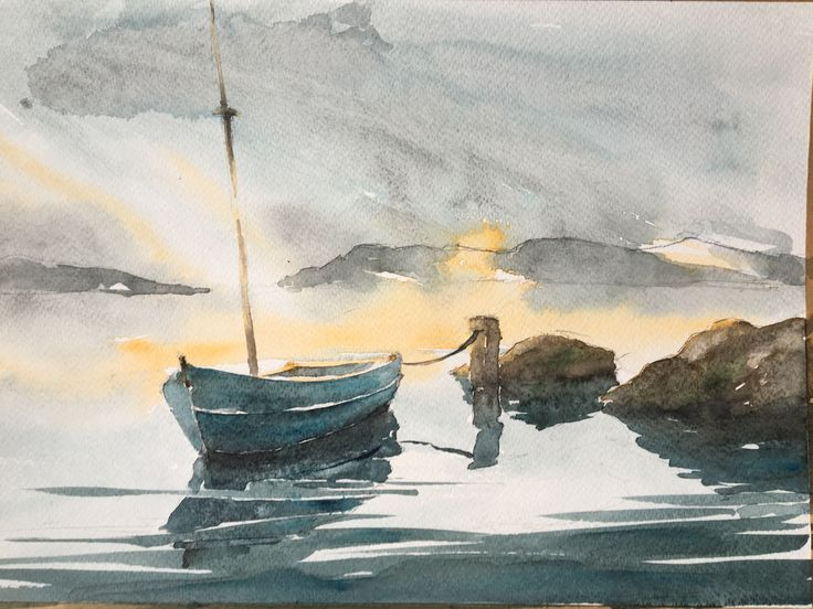 Boat. Watercolor