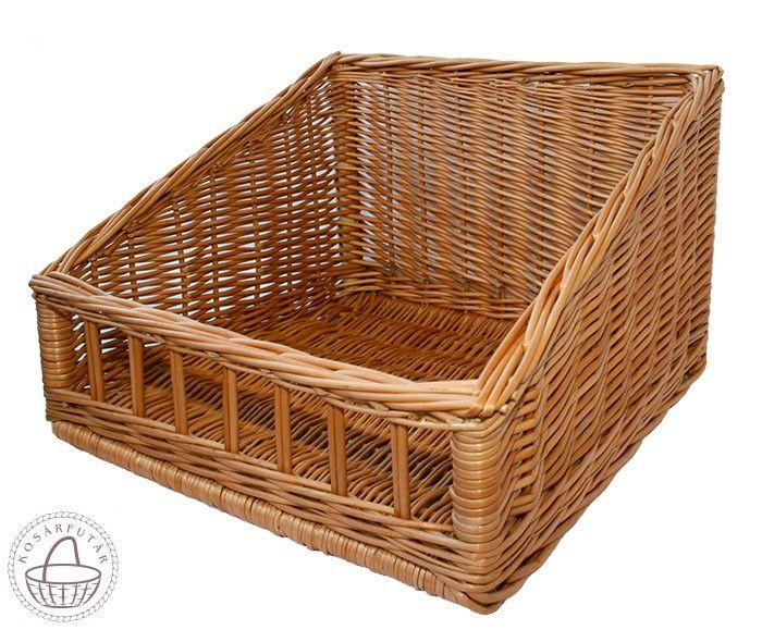 Pékárú kosár 45x45x15/28cm, Fonott kínáló doboz.Ezt a típusú dobozt gyakran használják a pékségekben vagy az üzletekben, a pékárúk számára. Külső méretek: Méret: 45cm x 45cm x 15/28 cm Anyag: Fonott fűzvessző Szín: Natúr , Kosárfutár