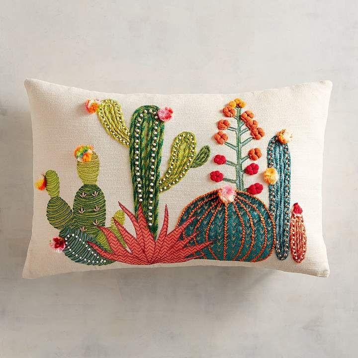 Pier 1 Imports Sunset Cactus Lumbar Pillow Bordados