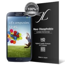 Neo HD Oleophobic - JL316 Samsung Galaxy S4 Screen Protector - Premium Japanese Film - 3 Pack - Lifetime Replacement - Verizon, AT, Sprint, T-Mobile, International, and Unlocked - Screen Protector Cover for Galaxy S IV SIV i9500 2013 Model $4.99
