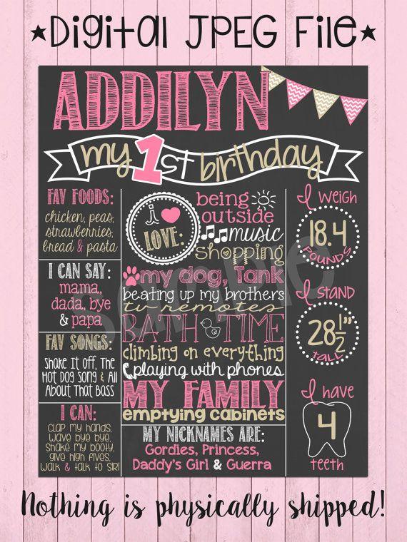 Rosa e oro primo compleanno lavagna Poster / di PersonalizedChalk