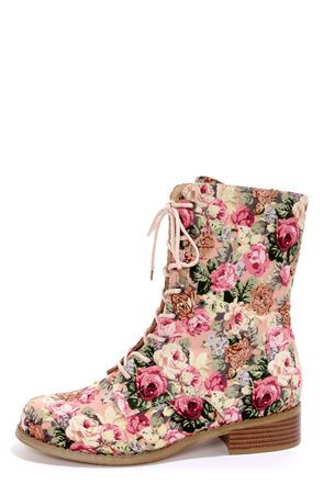 Check it out from Lulus.com! Pretty, pretty princess goes punk rock with the Wild Diva Lounge Madrid 10 Pink Floral Lace-Up Combat Boots! Worlds collide when pretty pink floral print fabric covers an edgy, lace-up combat boot, forming the most irresistible mid-calf boots on the market! Pale pink shoestrings lace up past the ankle through gunmetal grommets. 7.5