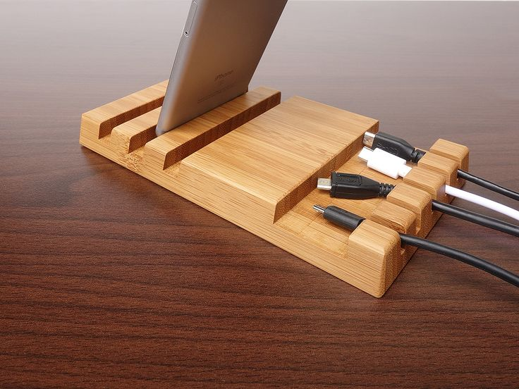Wooden Multiple Charging Station and Cable Organizer for iPad, iPhone. Station is for 3 Devices + 5 Cables . Wood Multiple Charging Station.