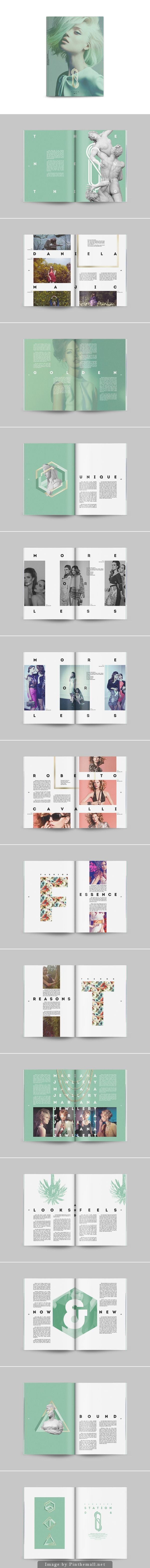 I like how the color scheme is constant throughout all the spreads and how the…