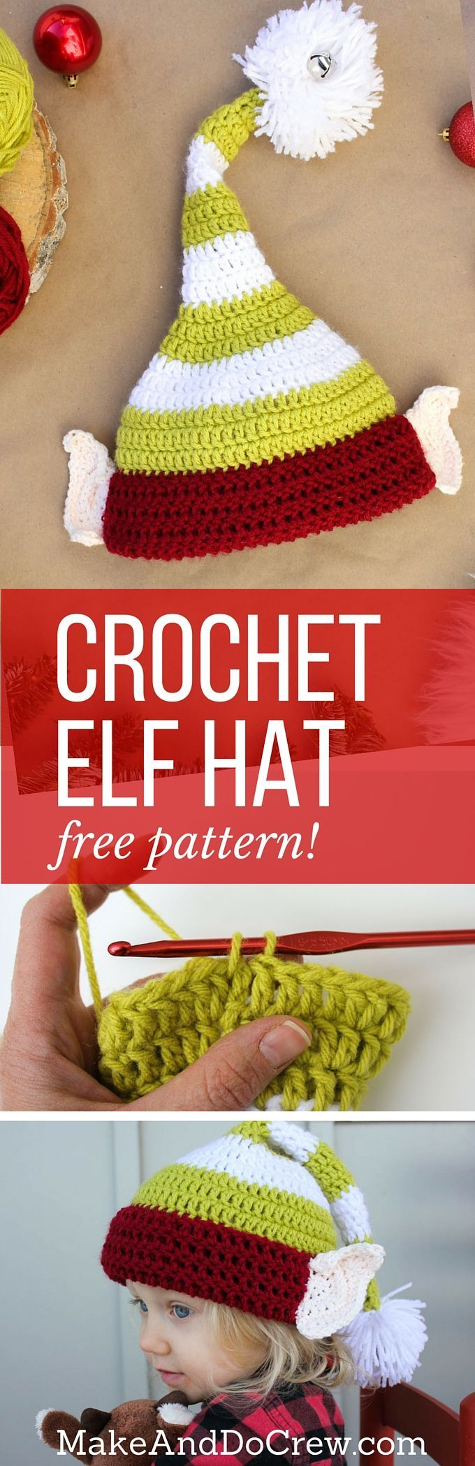 Free crochet elf hat pattern with ears! Make one for each member of the family. Perfect Christmas photo prop idea. Free pattern sizes include 0-3 months (newborn), 3-6 months (baby), 6-12 months, toddler/preschooler, child and adult.