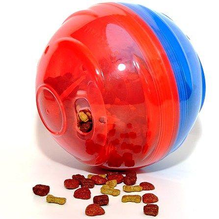 Comedouro Brinquedo Pet Ball Vermelho E Azul Petgames - Tam P - 12 cm - MeuAmigoPet.com.br #petshop #cachorro #cão #meuamigopet