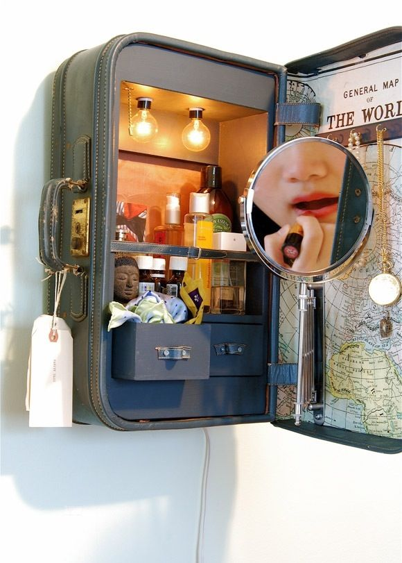old suitcase DIY idea  unique cabinet, home decor, makeup storage! This is AWESOME consider this DONE! Traveling Beauty Cabinet :D and I already have the pull out mirror from @IKEA