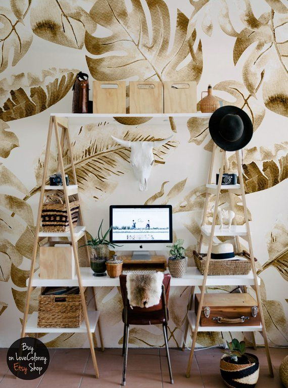 Tropical Gold Leaves Removable Wallpaper Palm Leaf Wall Etsy Papier Peint Peinture Murale Papier Peint Amovible