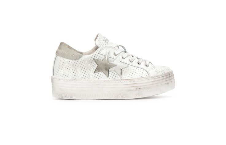 Sneaker 2 Two Star Donna 2sd1456hs low high bianco ice spring summer 2017