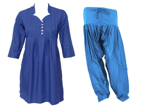 Love this neckline!  COMBO PACK : Kurta & Patiala  Indian Ethnic Pleated by theaonline