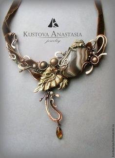 """Купить Колье wire wrap """"Музыка осени..."""" - wire wrap, metalsmith, медь"""