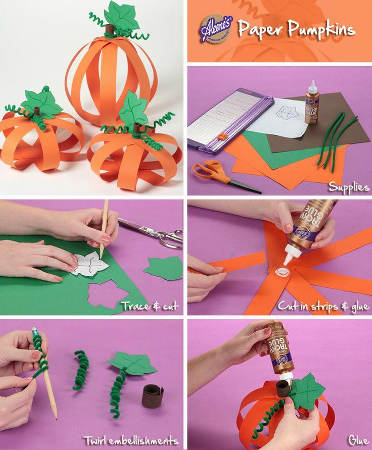 Easy Paper Pumpkins for fall #diy #crafts
